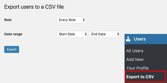 Exportar para configurações do CSV