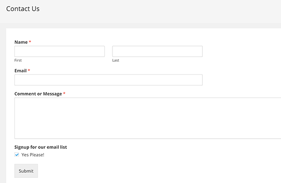 Um formulário de contato com subscrição de email optin