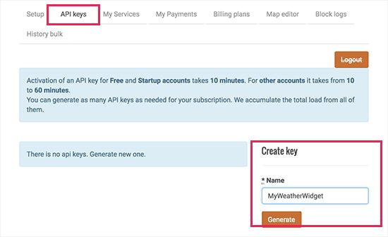 Gerar chave da API