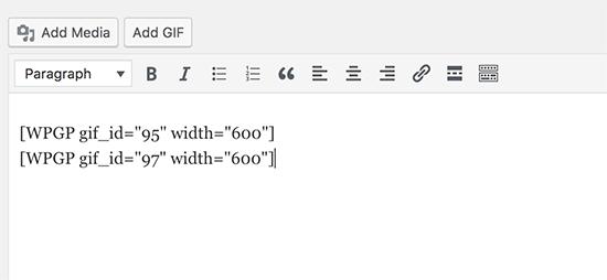 Código curto do GIF no editor de postagens do WordPress