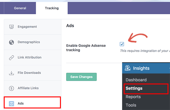 Ativar o rastreamento do Adsense no Google Analytics com o MonsterInsights