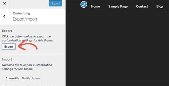 Exportar configurações do personalizador