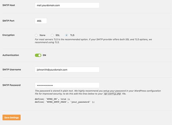 Configurações SMTP
