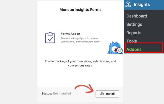Instalar o Addon de Formulários para MonsterInsights