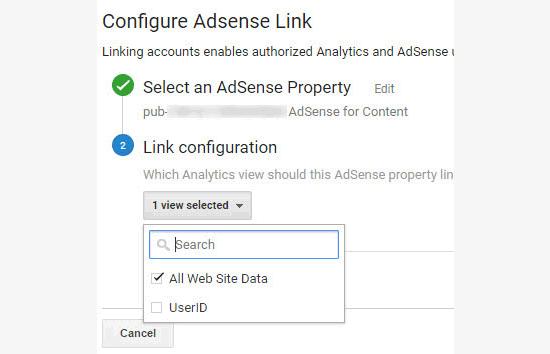 Configuração do link do Adsense