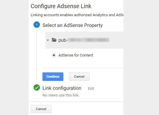 Selecione e vincule a propriedade AdSense