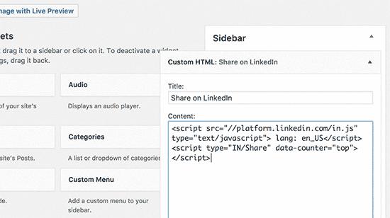 Botão Linkedin em um widget da barra lateral
