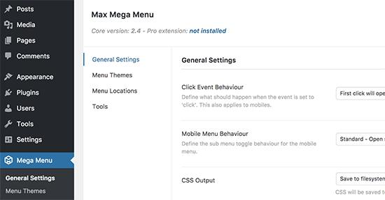 Configurações do Mega Menu
