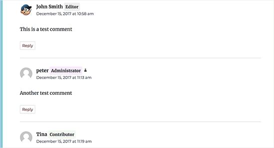 Emblemas de função de usuário exibidos com seus comentários