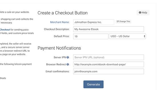 Gerando botão de pagamento