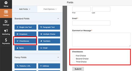 Adicionar caixa de seleção ao seu formulário