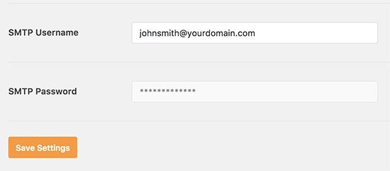 Senha SMTP desativada