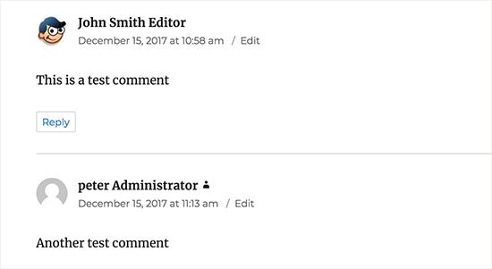 Rótulo de função de usuário mostrado ao lado de seu comentário