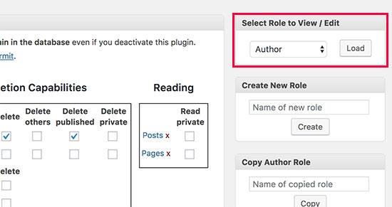 Carregar o papel do usuário do autor