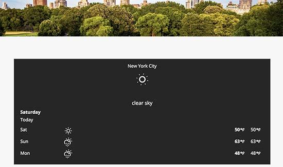 Previsão do tempo exibida em um site WordPress
