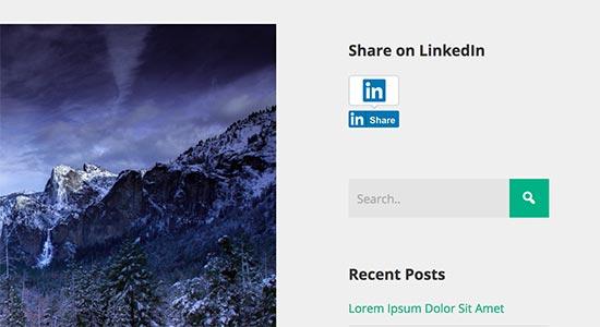 Botão de compartilhamento do LinkedIn na barra lateral